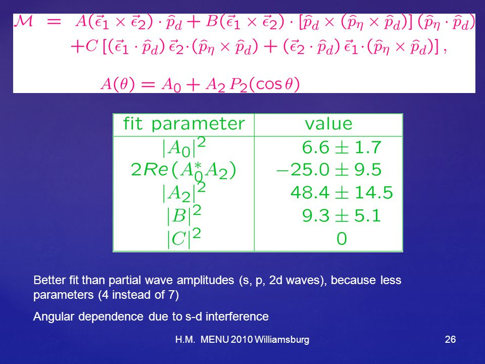 H.M. MENU 2010 Williamsburg26 Better fit than partial wave amplitudes (s, p, 2d waves), because less parameters (4 instead of 7) Angular dependence du