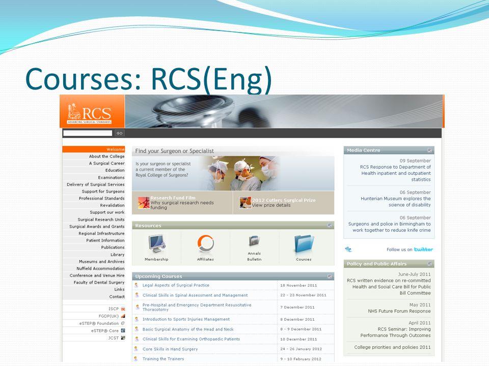 Courses: RCS(Eng)