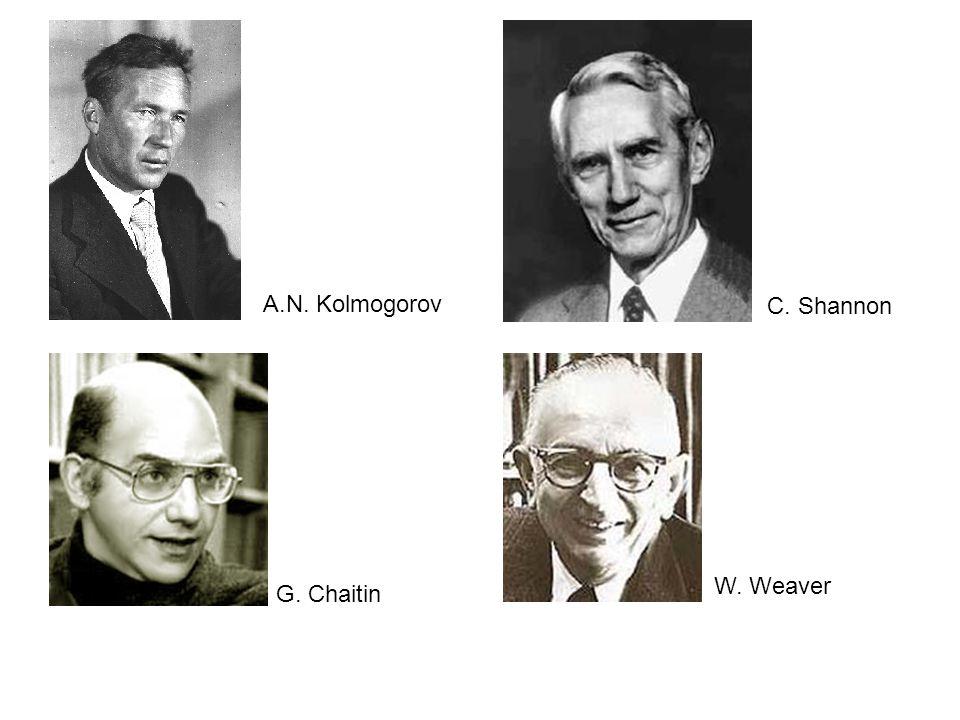 A.N. Kolmogorov G. Chaitin C. Shannon W. Weaver