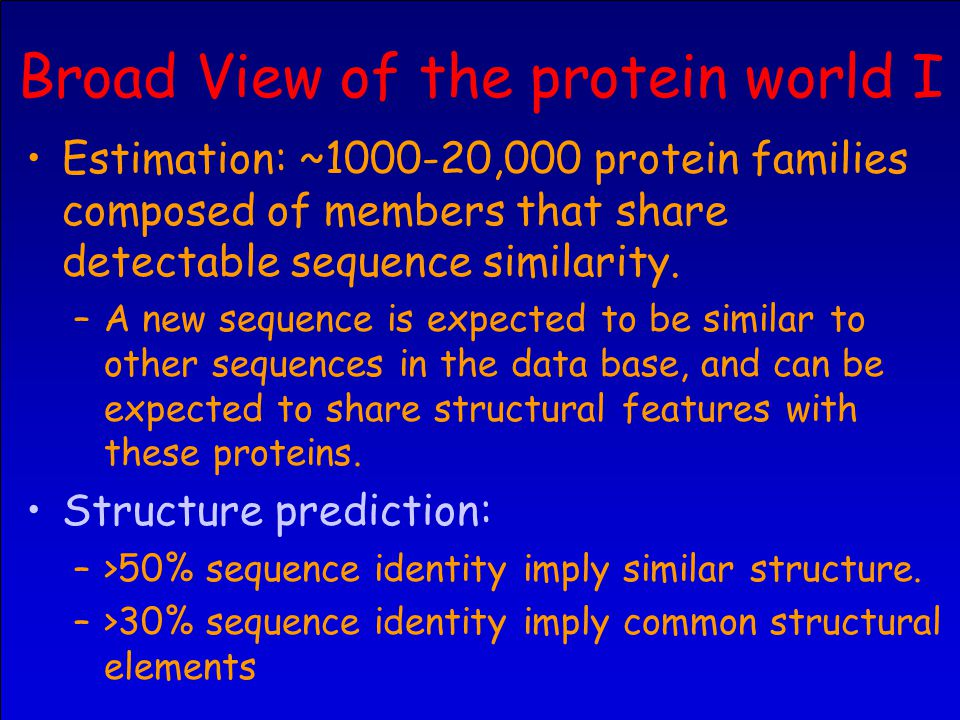 Broad View of the protein world I Estimation: ~1000-20,000 protein families composed of members that share detectable sequence similarity.