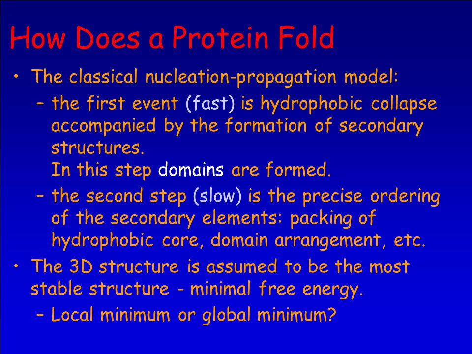 How Does a Protein Fold The classical nucleation-propagation model: –the first event (fast) is hydrophobic collapse accompanied by the formation of secondary structures.