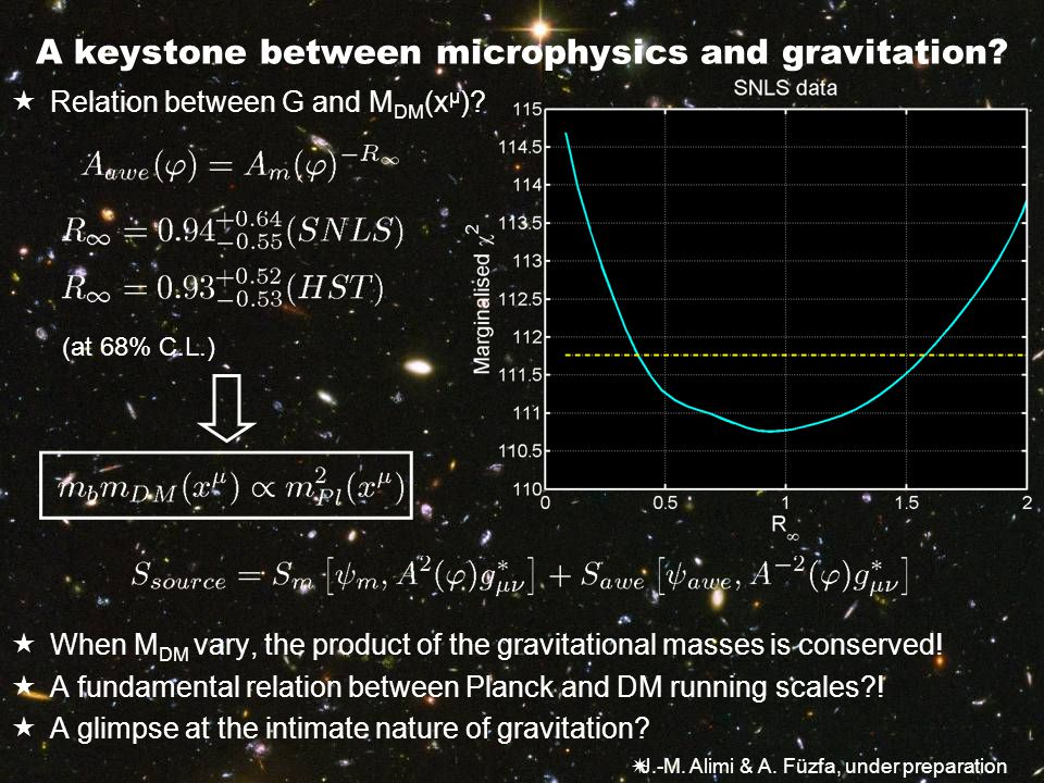 A keystone between microphysics and gravitation.  Relation between G and M DM (x µ ).