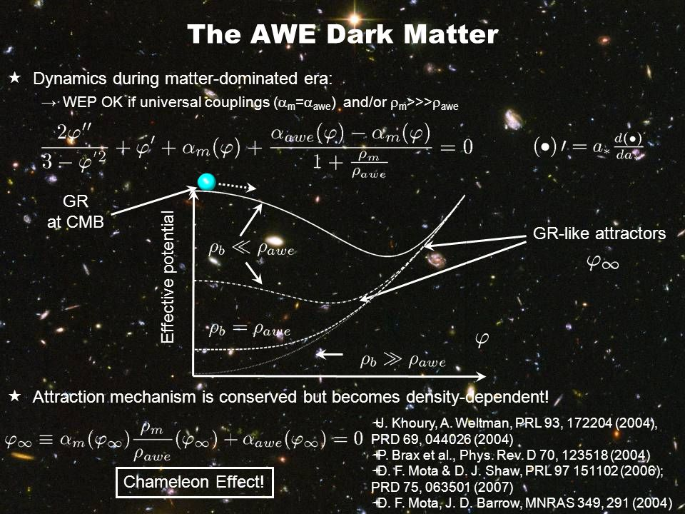 Dark Energy as a gravitational feedback  Friedmann equation  Acceleration equation →EP violation terms constitute an exotic DE fluid with negative pressures →Ghost effective equation of state  FLRW-like but →DM not scaling in a -3 (varying mass) →Exotic DE tracking DM and baryons  A.