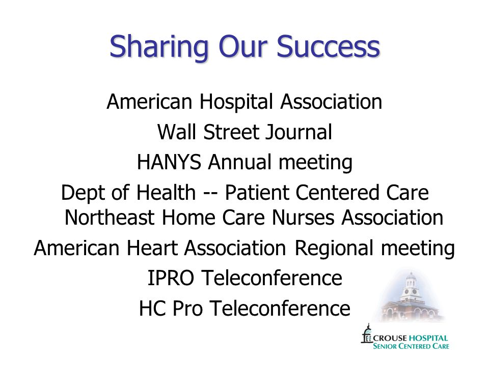Sharing Our Success American Hospital Association Wall Street Journal HANYS Annual meeting Dept of Health -- Patient Centered Care Northeast Home Care Nurses Association American Heart Association Regional meeting IPRO Teleconference HC Pro Teleconference