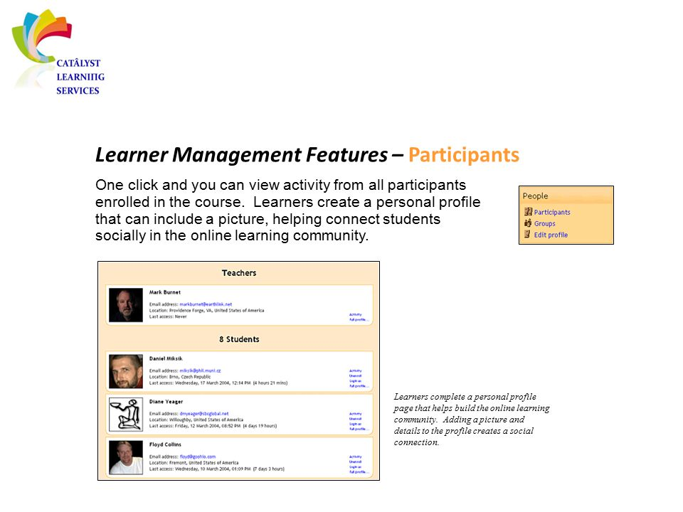 Learner Management Features – Participants One click and you can view activity from all participants enrolled in the course. Learners create a persona