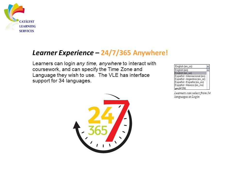 Learner Experience – 24/7/365 Anywhere! Learners can select from 34 languages at Login Learners can login any time, anywhere to interact with coursewo