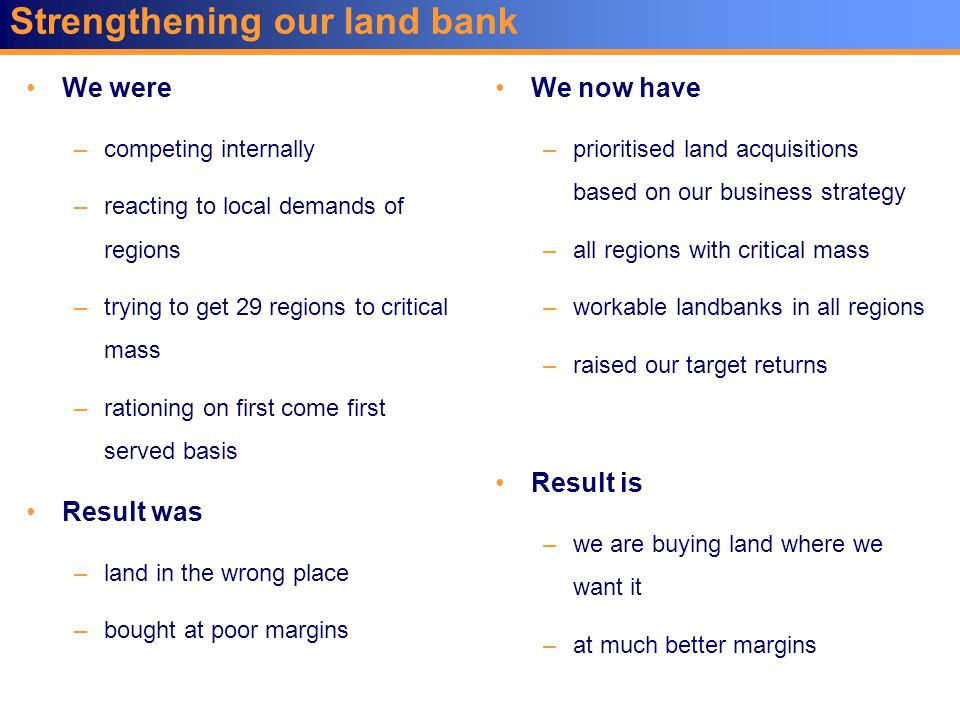 Strengthening our land bank We were –competing internally –reacting to local demands of regions –trying to get 29 regions to critical mass –rationing