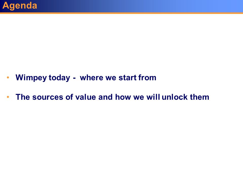 Agenda Wimpey today - where we start from The sources of value and how we will unlock them