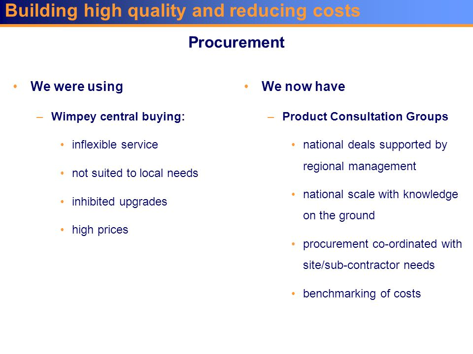 Building high quality and reducing costs We were using –Wimpey central buying: inflexible service not suited to local needs inhibited upgrades high prices We now have –Product Consultation Groups national deals supported by regional management national scale with knowledge on the ground procurement co-ordinated with site/sub-contractor needs benchmarking of costs Procurement