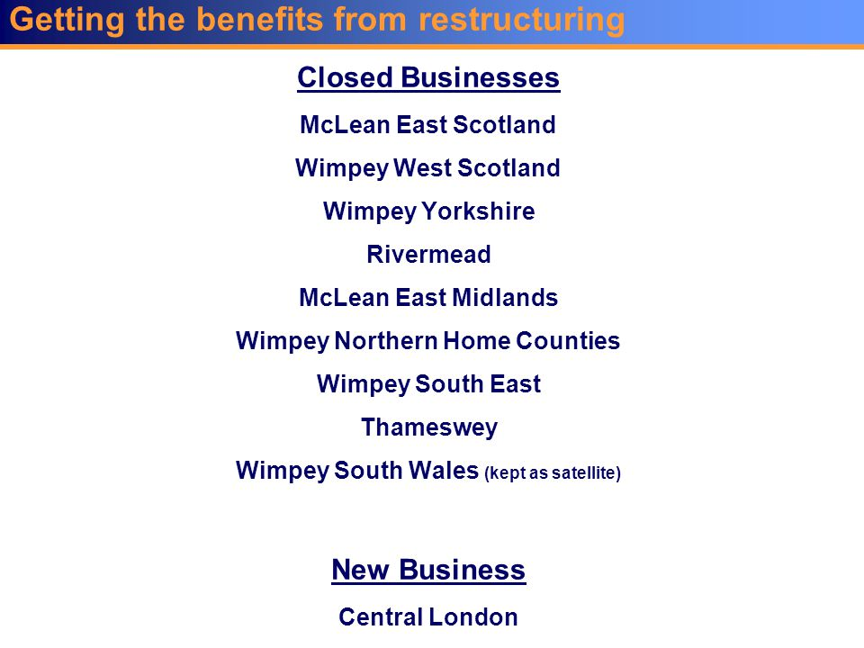 Closed Businesses McLean East Scotland Wimpey West Scotland Wimpey Yorkshire Rivermead McLean East Midlands Wimpey Northern Home Counties Wimpey South East Thameswey Wimpey South Wales (kept as satellite) New Business Central London Getting the benefits from restructuring