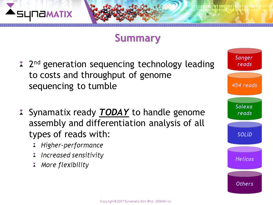 Copyright © 2007 Synamatix Sdn. Bhd. (538481-U) Summary 2 nd generation sequencing technology leading to costs and throughput of genome sequencing to