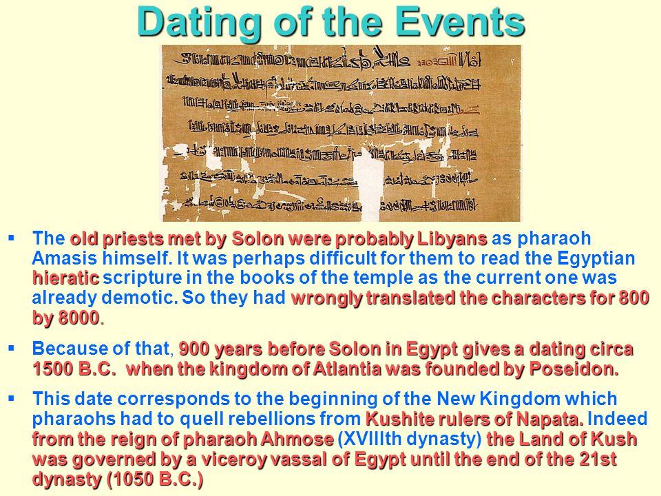 Dating of the Events old priests met by Solon were probably Libyans hieratic wrongly translated the characters for 800 by 8000.  The old priests met