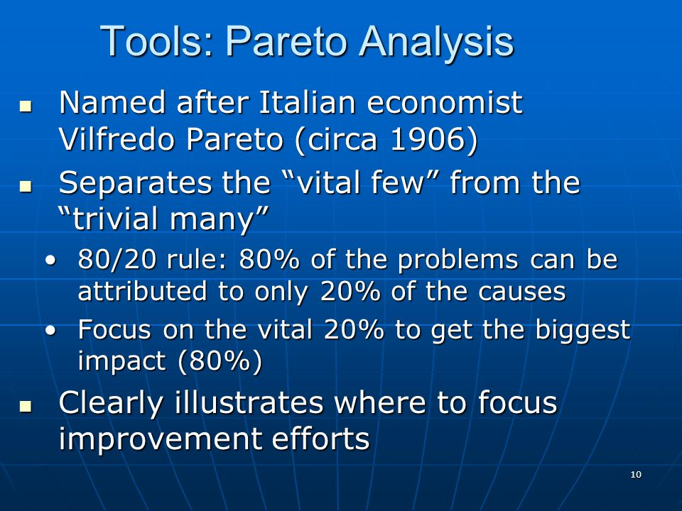 "10 Named after Italian economist Vilfredo Pareto (circa 1906) Named after Italian economist Vilfredo Pareto (circa 1906) Separates the ""vital few"" fro"