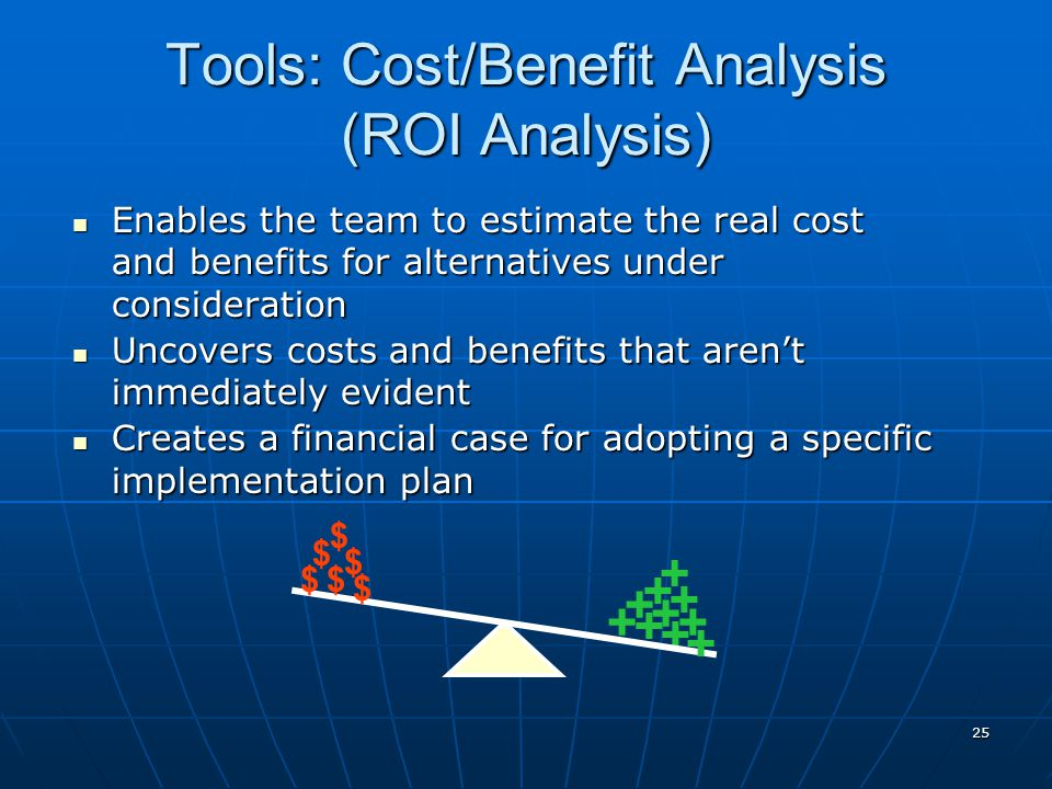 25 + + + + + + Enables the team to estimate the real cost and benefits for alternatives under consideration Enables the team to estimate the real cost