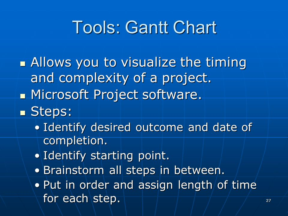 27 Allows you to visualize the timing and complexity of a project. Allows you to visualize the timing and complexity of a project. Microsoft Project s