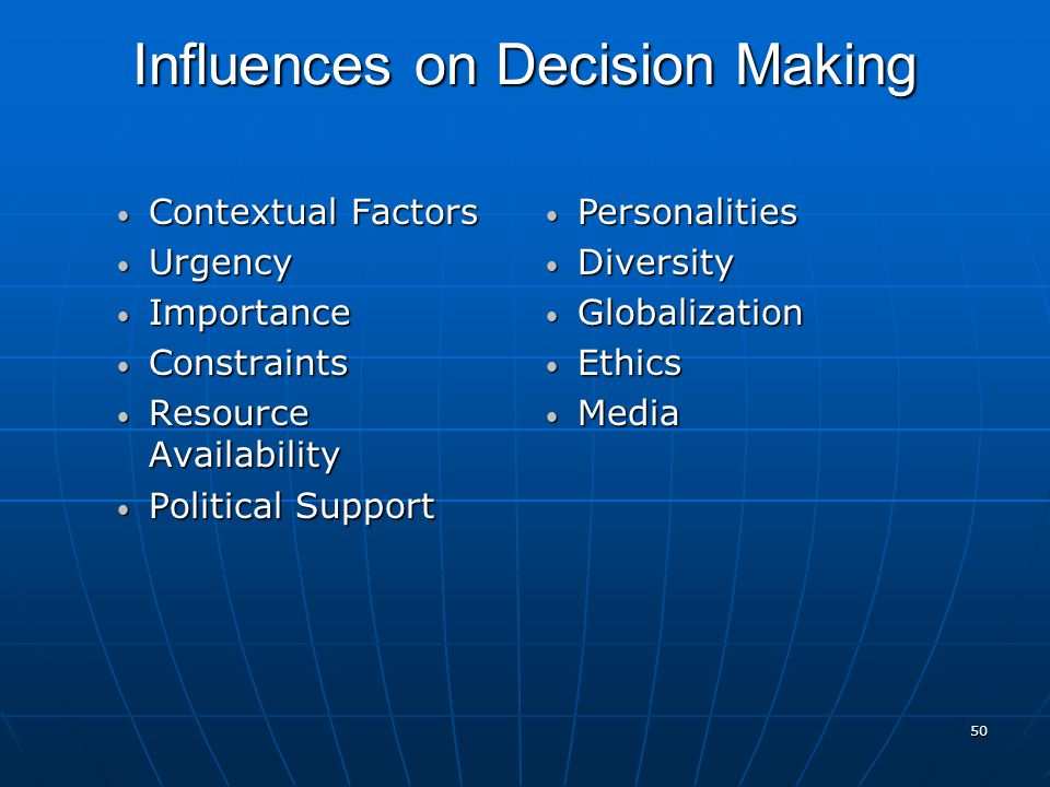 50 Influences on Decision Making Contextual Factors Contextual Factors Urgency Urgency Importance Importance Constraints Constraints Resource Availability Resource Availability Political Support Political Support Personalities Personalities Diversity Diversity Globalization Globalization Ethics Ethics Media Media