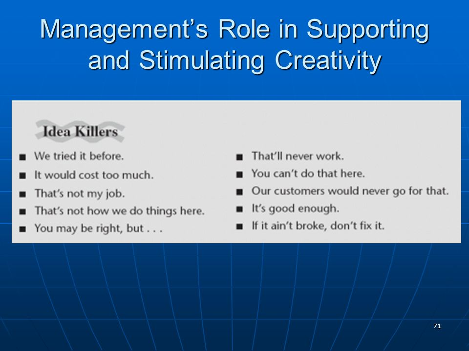 71 Management's Role in Supporting and Stimulating Creativity