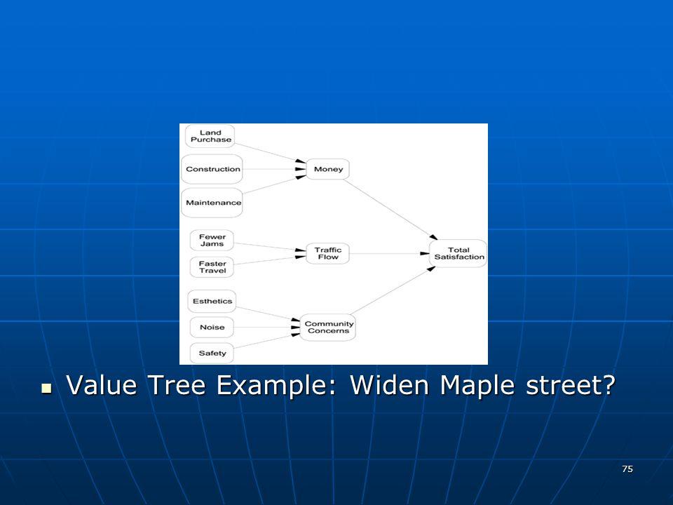 75 Value Tree Example: Widen Maple street? Value Tree Example: Widen Maple street?
