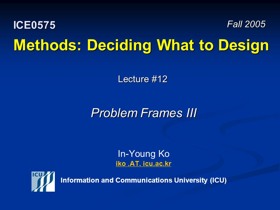 Fall 2005 12 ICE 0575 – Methods: Deciding What to Design © In-Young Ko, Information and Communications University London Ambulance Manual System Flow Model R e v i e w Resource Allocator -Decides which resource to mobilize Form Router -Collect forms from all CAs -Route form to correct resource allocator -Identify duplicates Radio Operator -Update records of resource utilization -Contact ambulance drivers Control Assistant -Record call details -Locate incident on map -Place incident form on conveyor Caller -Give location of emergency -Describe emergency Dispatcher -Contacts resource Ambulance Station -Send ambulance Ambulance request Printed form Status and location information Form noting resource Instructions Ambulance -Respond Instructions Callback status request Status request Status info The content of this slide is adopted from the lecture materials of the Methods course (17-652) at Carnegie Mellon University.