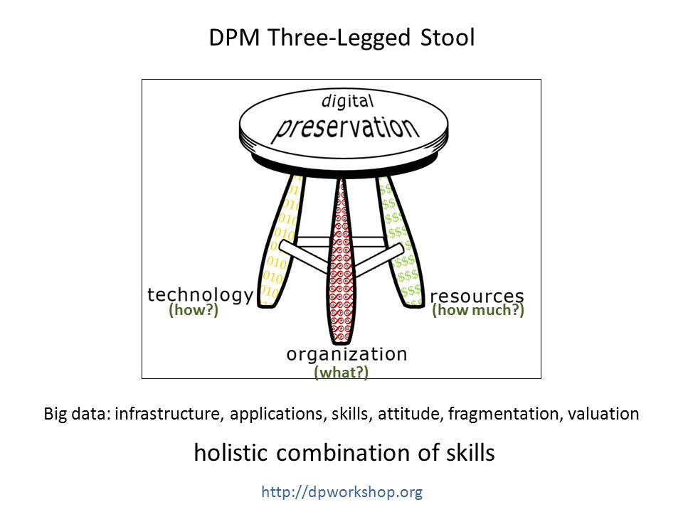 (what ) (how )(how much ) DPM Three-Legged Stool holistic combination of skills http://dpworkshop.org Big data: infrastructure, applications, skills, attitude, fragmentation, valuation