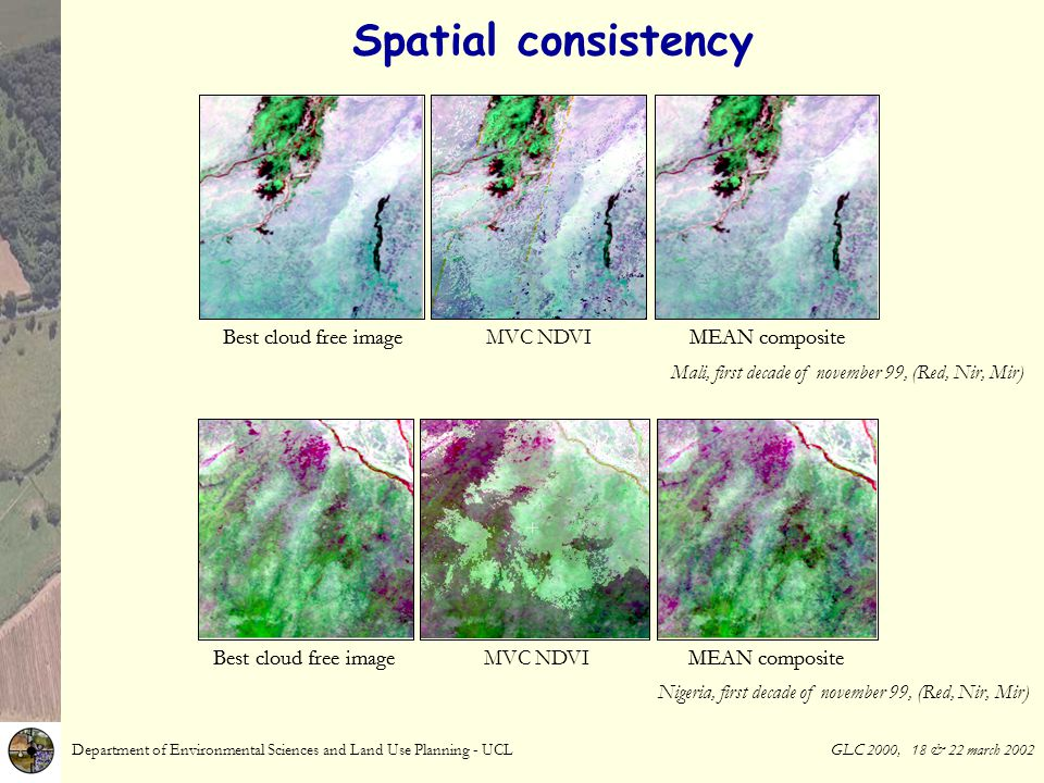 Department of Environmental Sciences and Land Use Planning - UCL GLC 2000, 18 & 22 march 2002 Spatial consistency First decade of november 99, RCA-Tchad (Red, Nir, Mir) Mean compositeMax NDVI composite