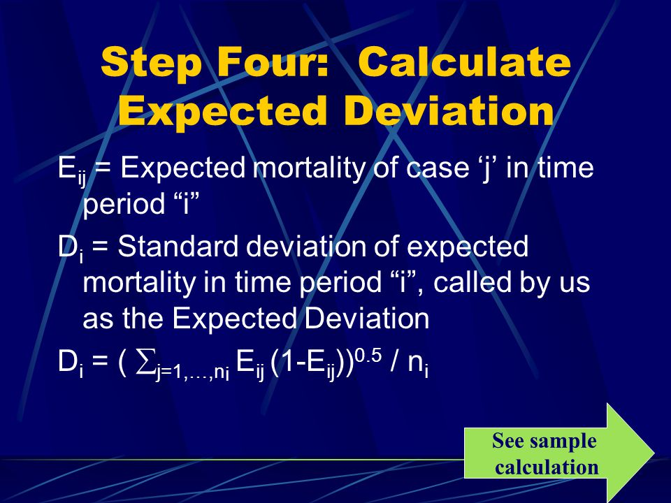 Step Four: Calculate Expected Deviation E ij = Expected mortality of case 'j' in time period i D i = Standard deviation of expected mortality in time period i , called by us as the Expected Deviation D i = (  j=1,…,n i E ij (1-E ij )) 0.5 / n i See sample calculation