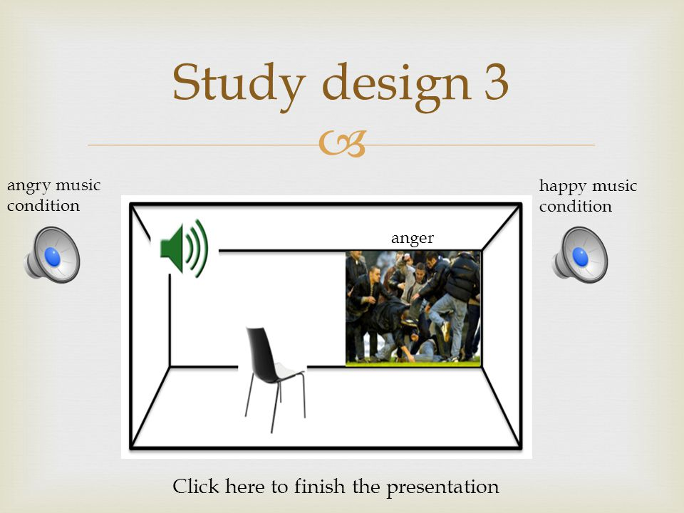  Study design 3 angry music condition happy music condition anger Click here to finish the presentation