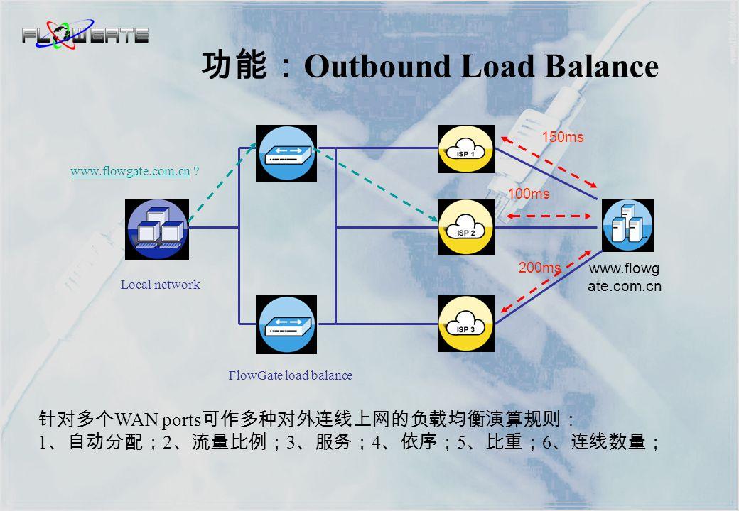  CPU 为前置加速处理 FlowASIC 芯片,达到线速转发性能。  产品的硬件为 ASIC 架构,高度集成化设计,运行速度,可靠性、 耗能绝非使用硬盘的工业组装计算机可比。  FlowGate 提供 VRRP 硬件备援功能及双电源,服务更有保障。  提供三种 QoS 功能让你合理控制带宽。  内建 MRTG 流量图。  内建可扩展的软件架构,不断有适合客户信息需求的功能加入 产品特色