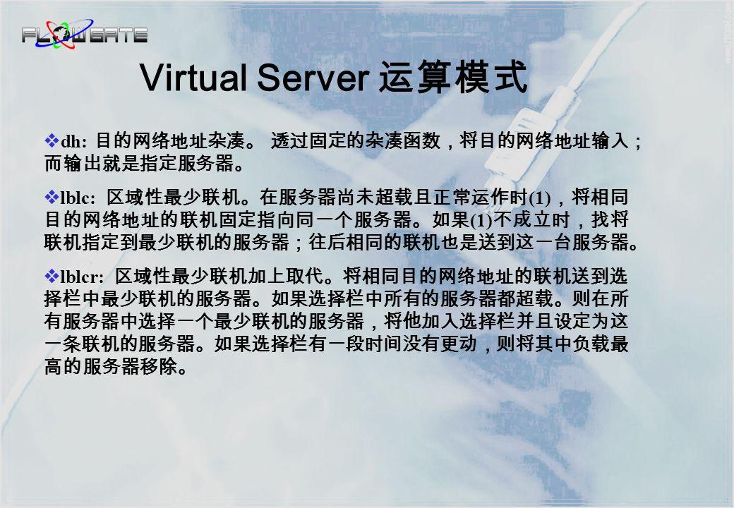 应用环境 固定端口的 TCP 或 UDP 应用 大量并发访问 / 需要改善应用系统的总体性能 Virtual Server