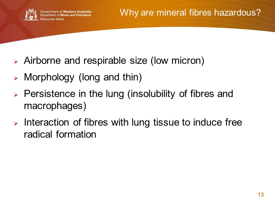 Why are mineral fibres hazardous?  Airborne and respirable size (low micron)  Morphology (long and thin)  Persistence in the lung (insolubility of