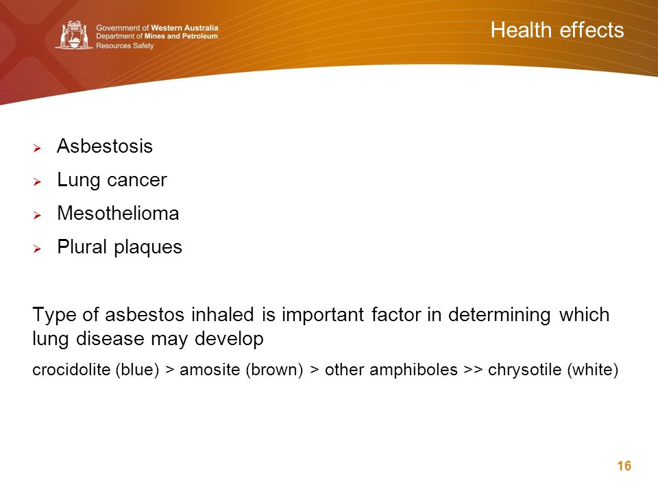 Health effects  Asbestosis  Lung cancer  Mesothelioma  Plural plaques Type of asbestos inhaled is important factor in determining which lung disea
