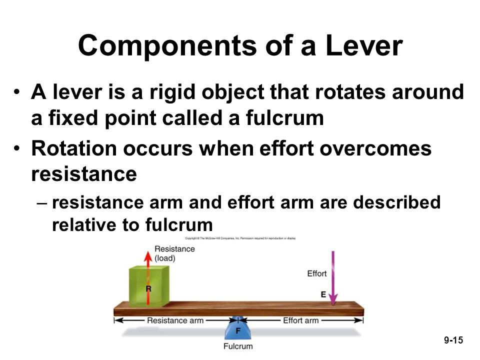 9-15 Components of a Lever A lever is a rigid object that rotates around a fixed point called a fulcrum Rotation occurs when effort overcomes resistance –resistance arm and effort arm are described relative to fulcrum
