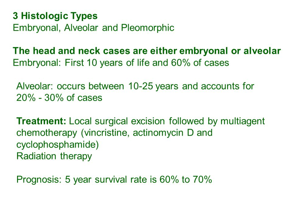 3 Histologic Types Embryonal, Alveolar and Pleomorphic The head and neck cases are either embryonal or alveolar Embryonal: First 10 years of life and 60% of cases Alveolar: occurs between 10-25 years and accounts for 20% - 30% of cases Treatment: Local surgical excision followed by multiagent chemotherapy (vincristine, actinomycin D and cyclophosphamide) Radiation therapy Prognosis: 5 year survival rate is 60% to 70%