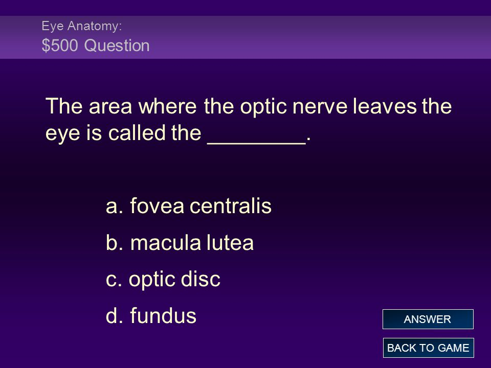 Eye Anatomy: $500 Question The area where the optic nerve leaves the eye is called the ________.