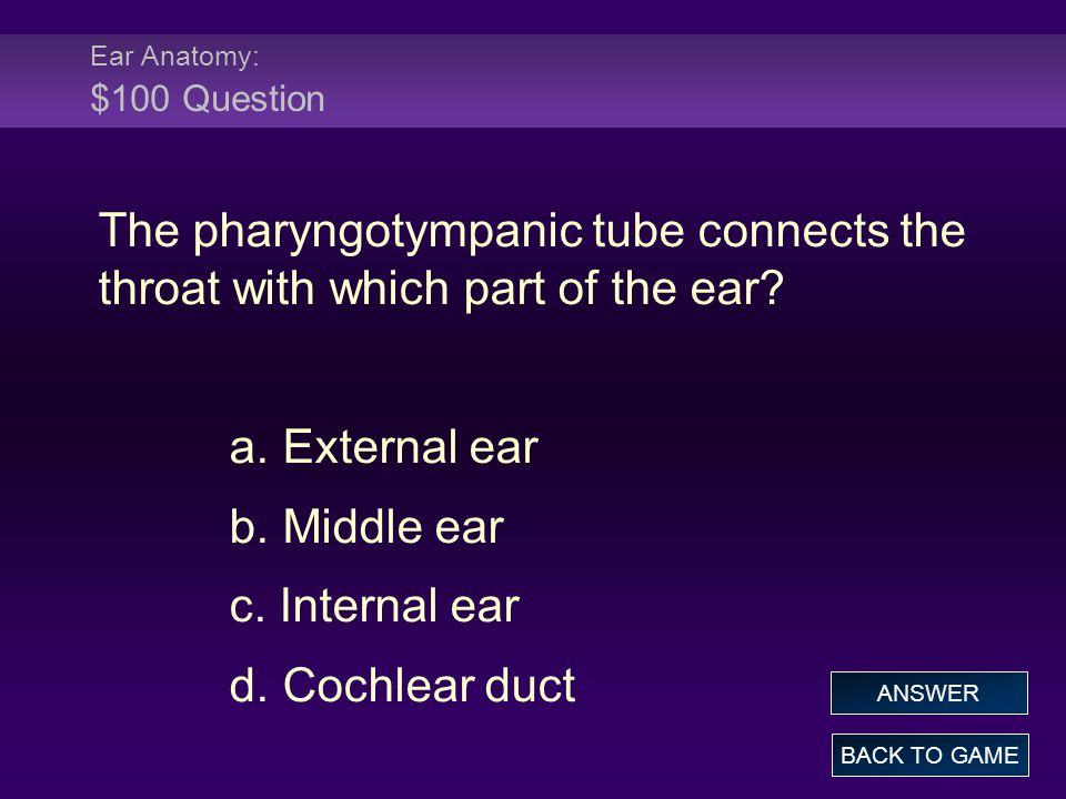 Ear Anatomy: $100 Question The pharyngotympanic tube connects the throat with which part of the ear.