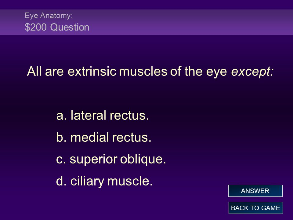 Eye Anatomy: $200 Question All are extrinsic muscles of the eye except: a.
