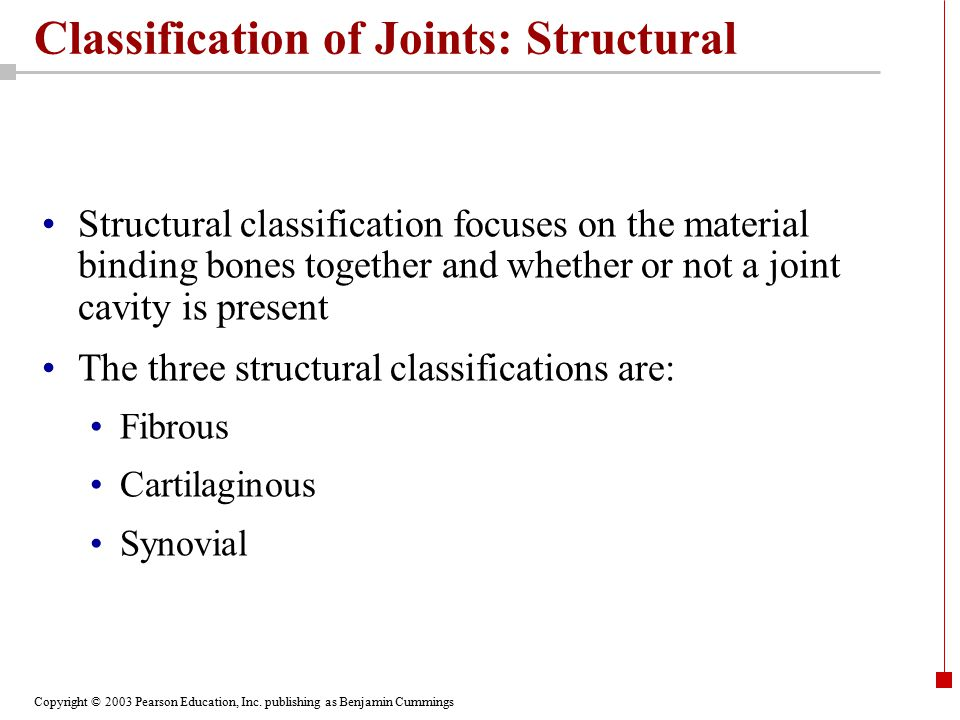 Copyright © 2003 Pearson Education, Inc. publishing as Benjamin Cummings Classification of Joints: Structural Structural classification focuses on the