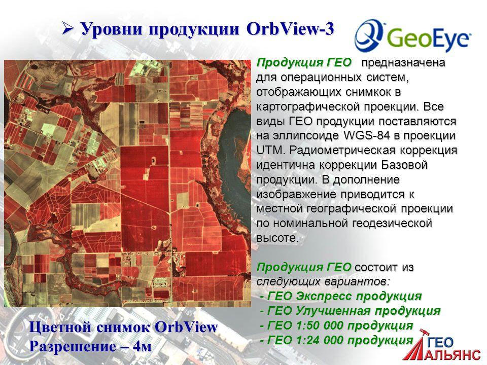  Уровни продукции OrbView-3 Продукция ГЕО предназначена для операционных систем, отображающих снимкок в картографической проекции.