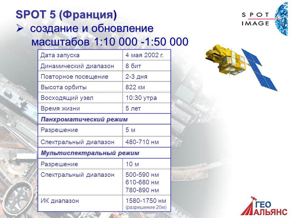 SPOT 5 (Франция)  создание и обновление масштабов 1:10 000 -1:50 000 масштабов 1:10 000 -1:50 000 Дата запуска4 мая 2002 г.