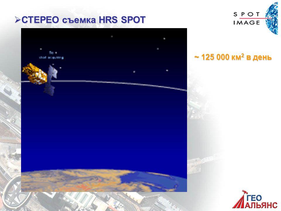  СТЕРЕО съемка HRS SPOT ~ 125 000 км 2 в день