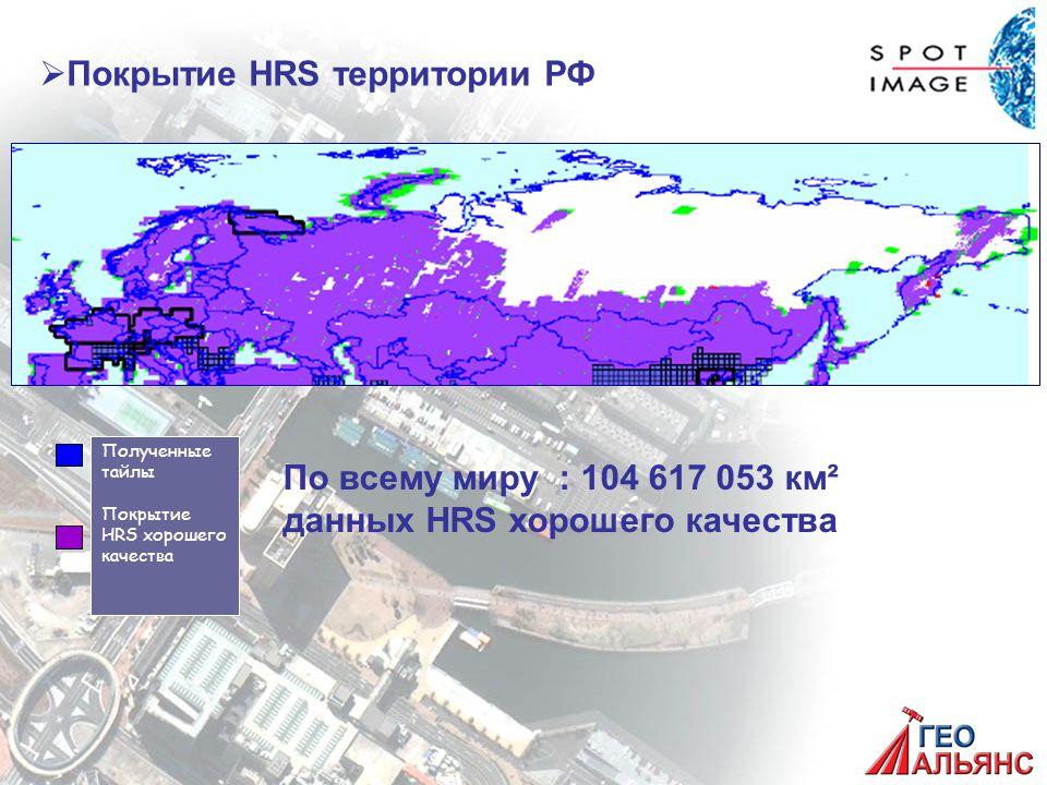 Полученные тайлы Покрытие HRS хорошего качества   Покрытие HRS территории РФ По всему миру : 104 617 053 км² данных HRS хорошего качества