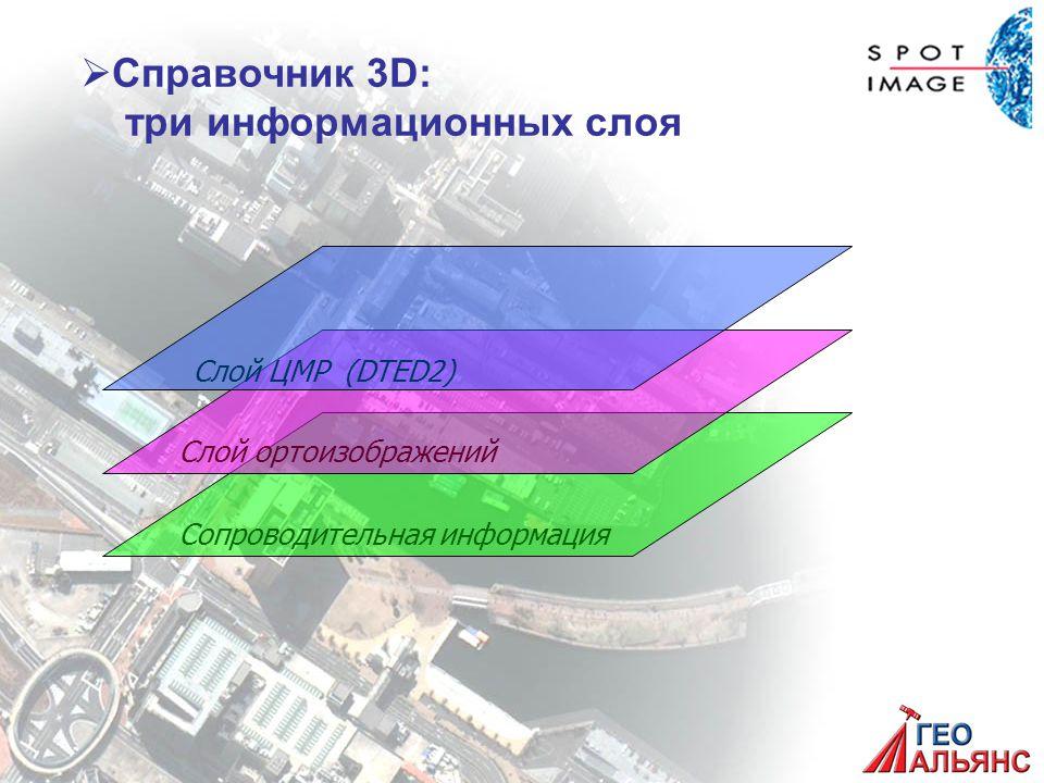 Сопроводительная информацияСлой ортоизображений Слой ЦМР (DTED2)   Справочник 3D: три информационных слоя
