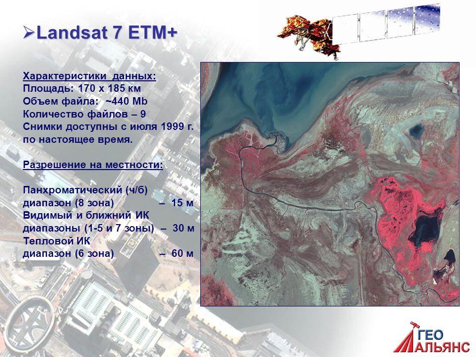  Landsat 7 ETM+ Характеристики данных: Площадь: 170 х 185 км Объем файла: ~440 Mb Количество файлов – 9 Снимки доступны с июля 1999 г.