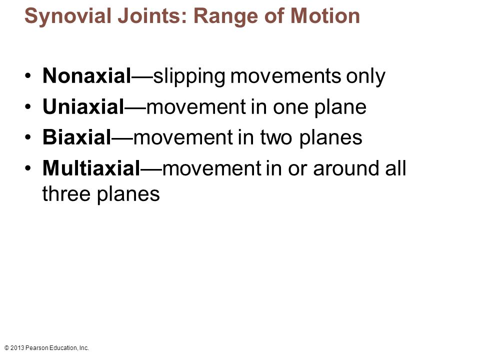 © 2013 Pearson Education, Inc. Synovial Joints: Range of Motion Nonaxial—slipping movements only Uniaxial—movement in one plane Biaxial—movement in tw