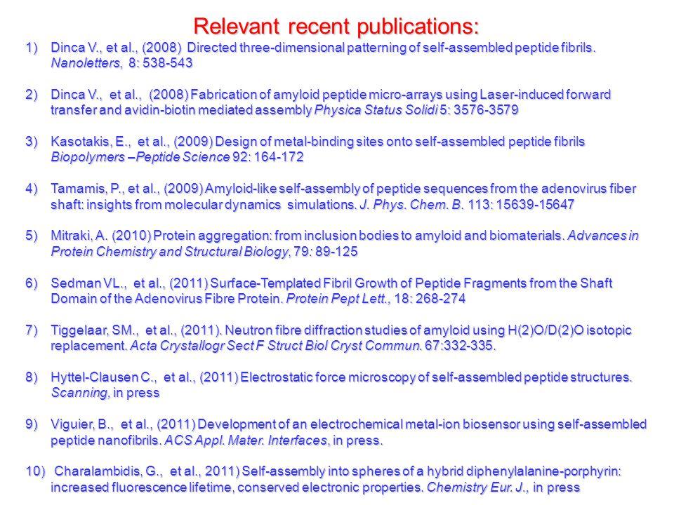 Relevant recent publications: 1) Dinca V., et al., (2008) Directed three-dimensional patterning of self-assembled peptide fibrils.