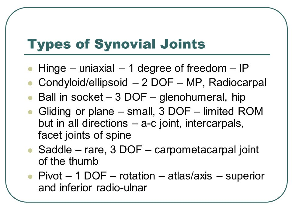 Types of Synovial Joints Hinge – uniaxial – 1 degree of freedom – IP Condyloid/ellipsoid – 2 DOF – MP, Radiocarpal Ball in socket – 3 DOF – glenohumeral, hip Gliding or plane – small, 3 DOF – limited ROM but in all directions – a-c joint, intercarpals, facet joints of spine Saddle – rare, 3 DOF – carpometacarpal joint of the thumb Pivot – 1 DOF – rotation – atlas/axis – superior and inferior radio-ulnar