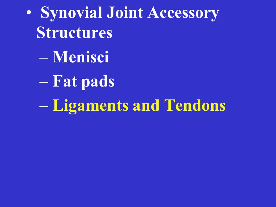 Synovial Joint Accessory Structures – Menisci – Fat pads – Ligaments and Tendons