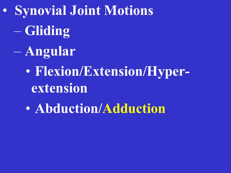 Synovial Joint Motions – Gliding – Angular Flexion/Extension/Hyper- extension Abduction/Adduction