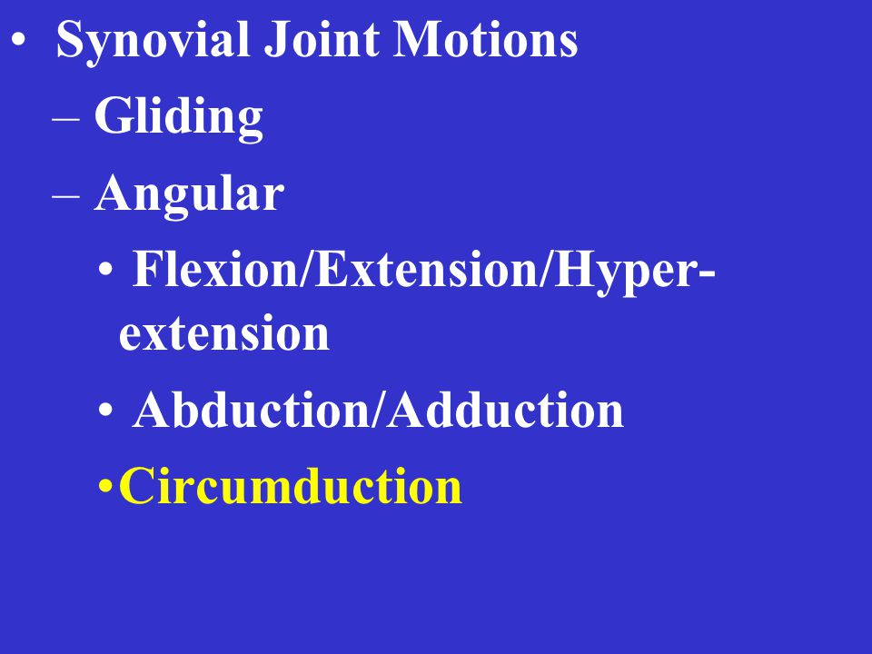 Synovial Joint Motions – Gliding – Angular Flexion/Extension/Hyper- extension Abduction/Adduction Circumduction