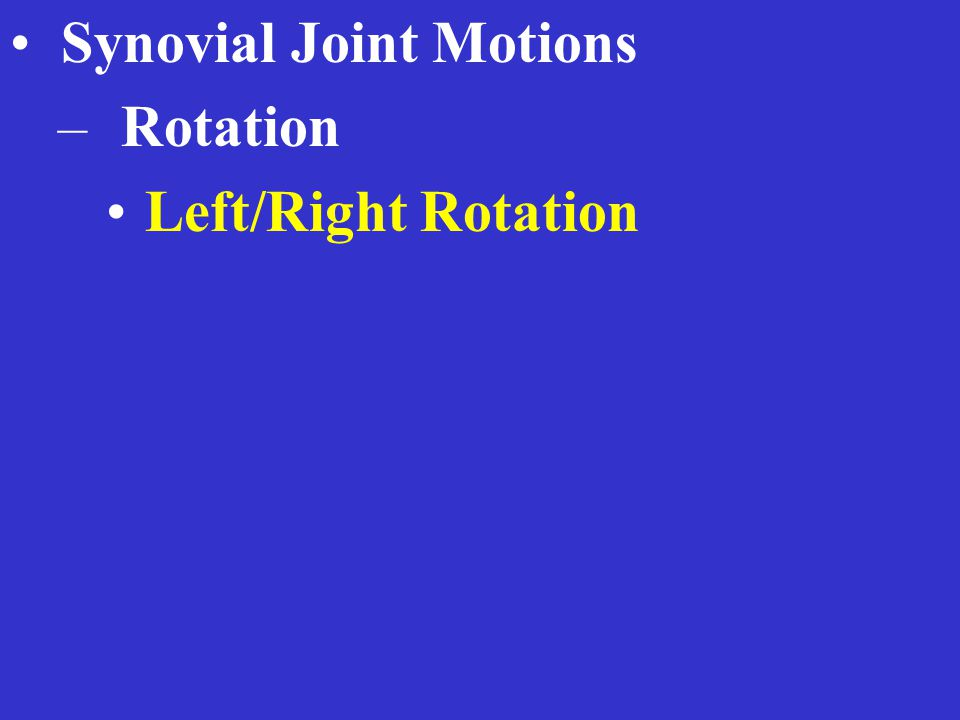 Synovial Joint Motions – Rotation Left/Right Rotation